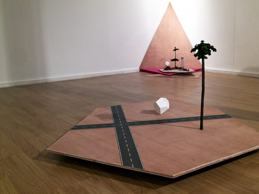 Lauren O'Grady Other Possible Locations, Crossroads, 2012 Plywood, plaster, various model making materials, 55x120x110cm