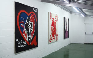 L-R: Cool Dude (Whatever), The Heart Is A Muscle, Ham-Fisted Heart On Sleeve, each 190x160cm, acrylic on canvas, Claire Dorsett, 2018. Photo: Lucy Ridges. STOCK gallery, The Talleyrand, Levenshulme, Manchester