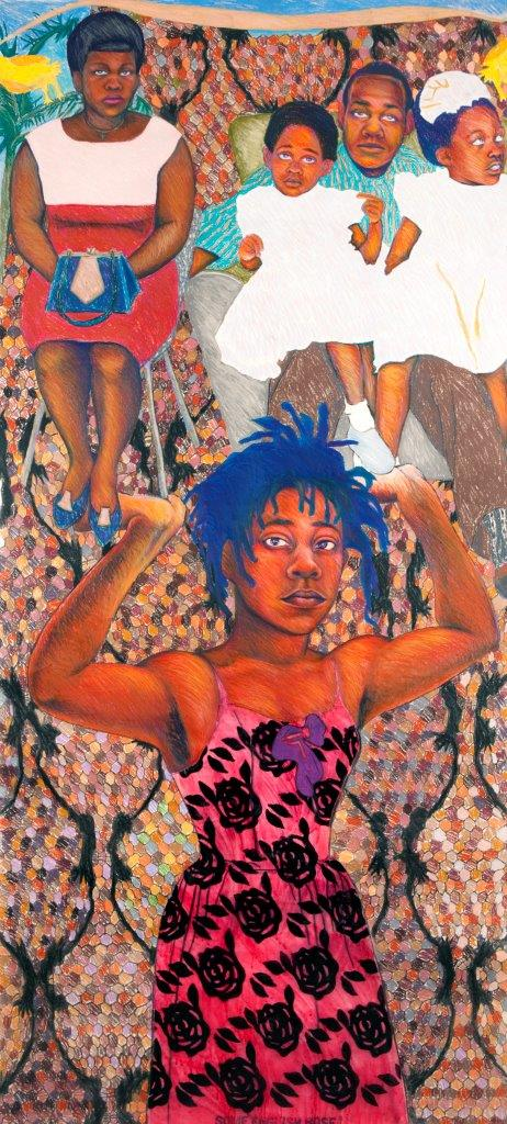 Sonia Boyce, 'She Ain't Holding Them Up, She's Holding On (Some English Rose)', 1986. A young woman gazes out at the viewer while holding her arms up to support a family group wearing Sunday best clothing. She wears a pink dress patterned with black roses and stands against a mosaic background.