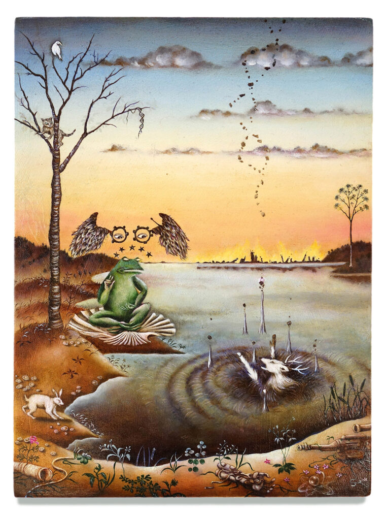 A frog, sat cross-legged on a shell by the side of a lake watches on as a deer drowns and the fires of a burning civilisation rage in the background.