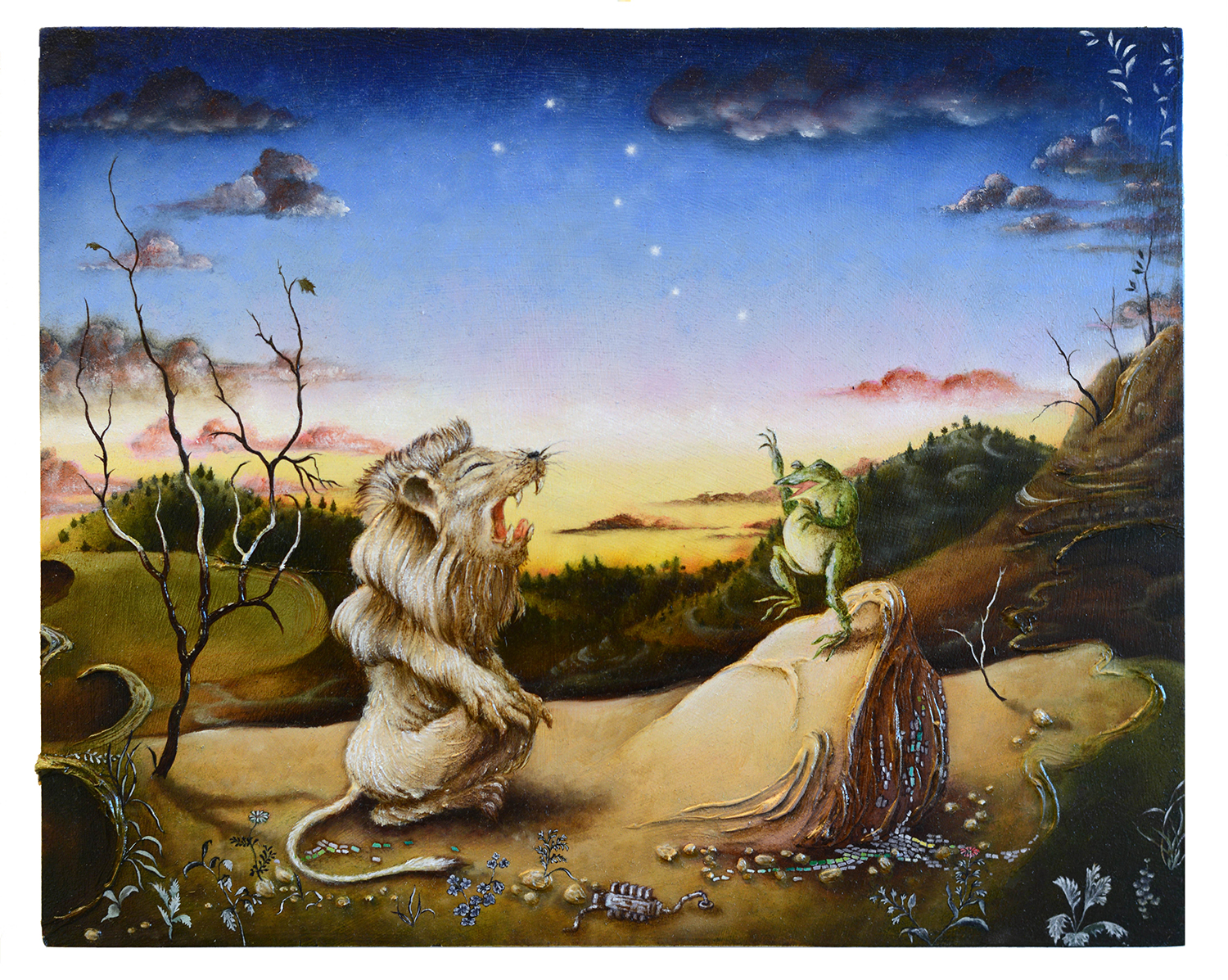 A frog, stood upright on a rock, confronts a lion sat on its hind legs in front of a starry sky as dawn, or fire, breaks over the horizon.