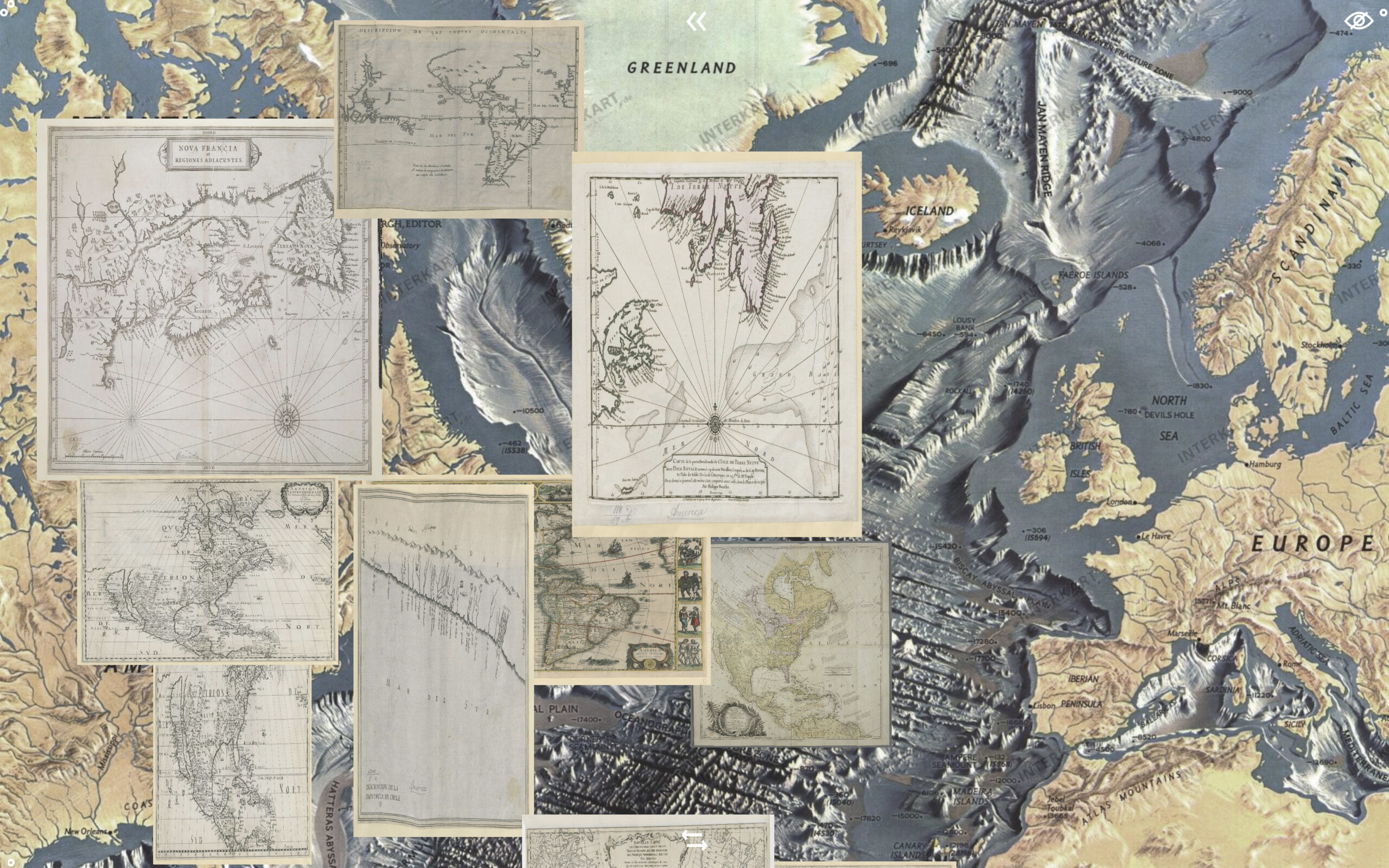 A map of the Atlantic Ocean showing detailed nautical charts of the same area laid on over the top of it.