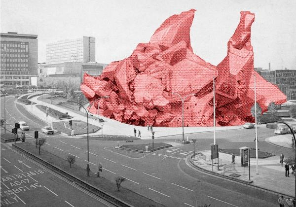 Graphic of a pink geometric sculpture in a Bradford cityscape