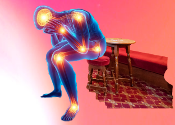 A figure on a bar stool is hunched over, with flashes representing pain at each joint and in the skull